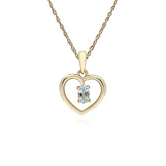 Classic Style Oval Blue Topaz Love Heart Shaped Hanger Ketting in 9ct Yellow Gold 135P1887069