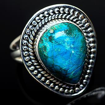 Chrysocolla Ring Size 7.25 (925 Sterling Silver)  - Handmade Boho Vintage Jewelry RING14547