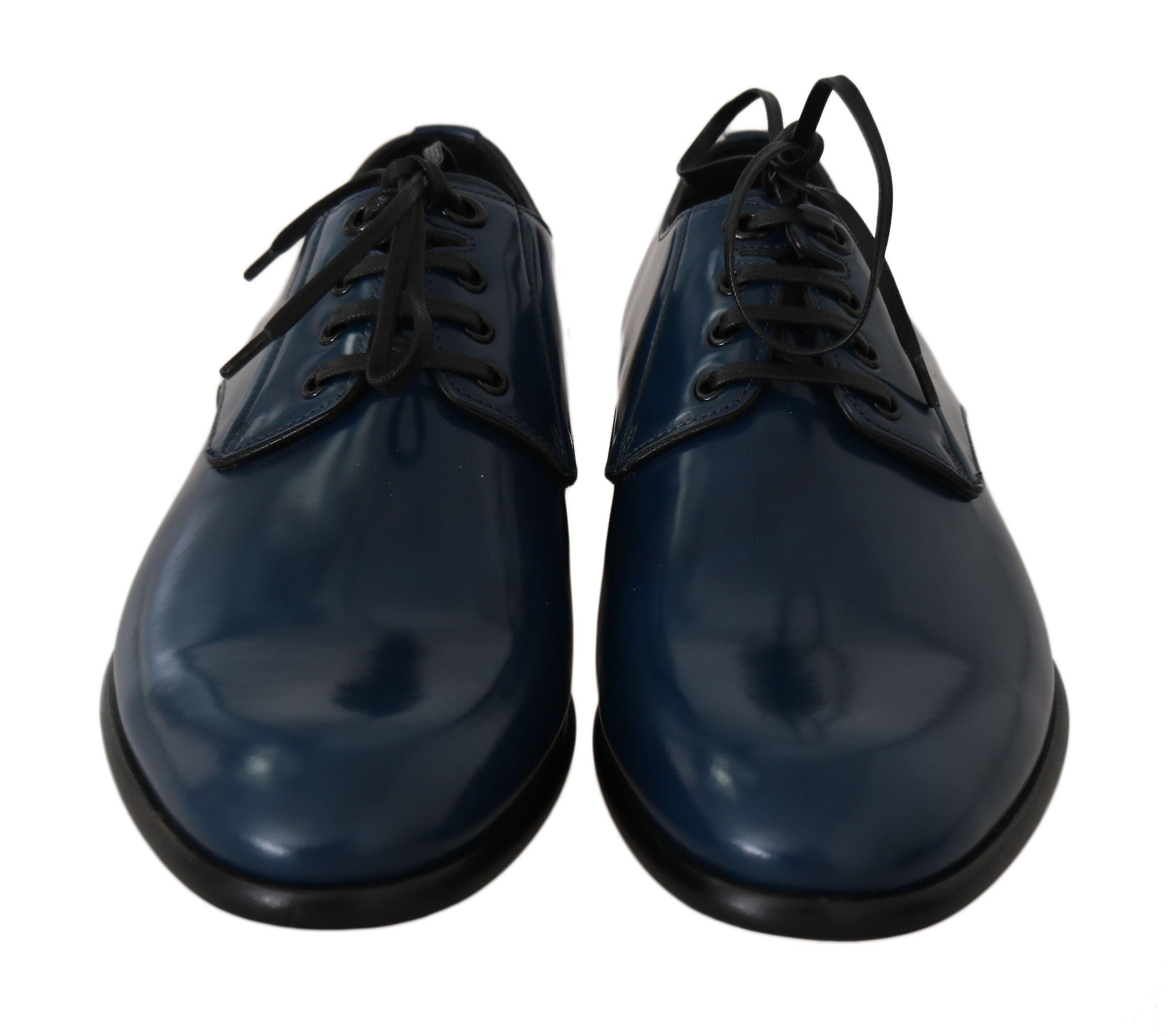 Dolce & Gabbana Blue Formal Leather Laceups Shoes