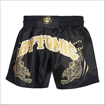 Bytomic twin tiger muay thai shorts black/white/gold