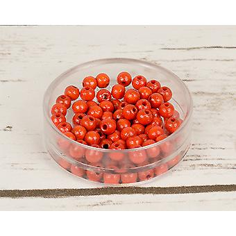 6mm Orange Wooden Threading Beads Adults Crafts - 110pk
