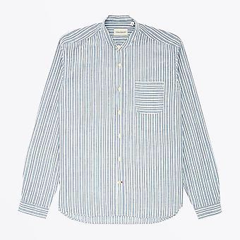 Oliver Spencer  - Grandad Stripe Shirt - Blue/White