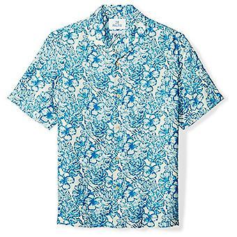 28 Palms Men's Relaxed-Fit Silk/Linnen Tropical Hawaiian Shirt, White/Blue Hib...