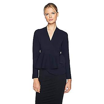 Lark & Ro Women's Peplum Belted Sweater Jacket with Bell Sleeves, Navy, X-Large
