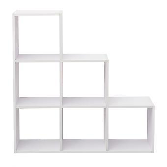Rebecca Mobili Scaffale Cubi Libreria Moderna Mdf Bianco 6 Scomparti 97,5x97,5x29