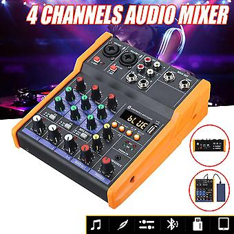 4 Channel Bluetooth Digital Microphone Sound Mixer With Usb Dj Sound Mixing Console 48v Amplifier For Karaoke Ktv