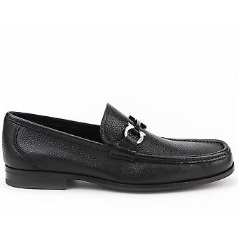 Salvatore Ferragamo Ezcr037005 Men's Black Leather Loafers