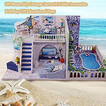 Diy Assembly Villa Cottage Santorini Cabin Vacation With Swim Pool Innovative