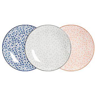 نيكولا ربيع 6 قطعة ديزي لوح عشاء منقوشة مجموعة - لوحات طعام كبيرة من الخزف - 3 ألوان - 26.5 سم