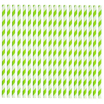 Rink Drink Biodegradable Paper Drinking Straws - Green and White - Pack of 100