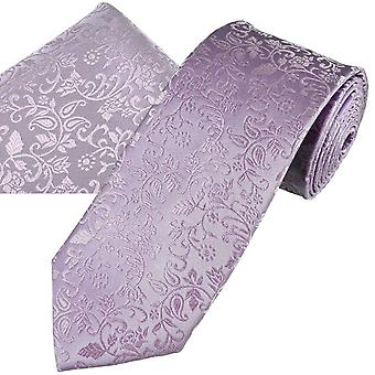 Ties Planet Gold Label Lilac Self Leaves Patterned Men's Silk Tie & Pocket Square Handkerchief Set
