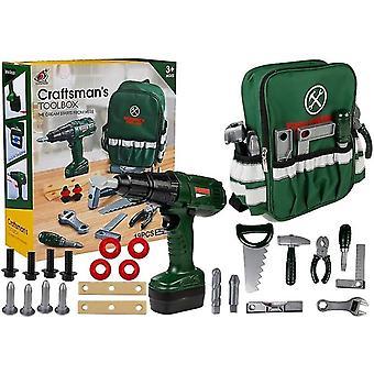 Ensemble d'outils de jouets pour enfants avec sac à dos - vert