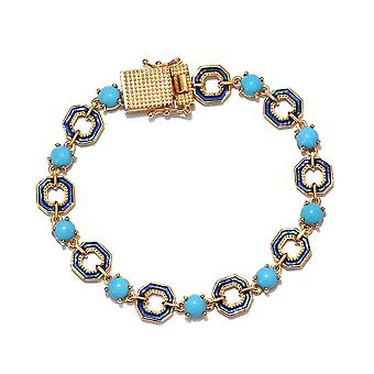 GP Turquoise Enamelled Bracelet in 14ct Gold Plated Sterling Silver