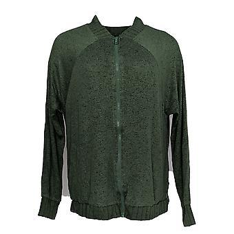 Anybody Women's Sweater Hacci Bomber Jacket Dark Green A367692