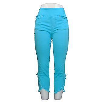Belle By Kim Gravel Mujeres's Pantalones Pull On Twill Frayed Hem Azul A350500