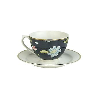 Laura Ashley Cappuccino Cup & Saucer, Cobblestone Pinstripe
