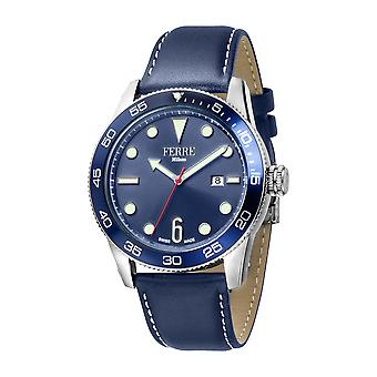 Ferre Milano Gents D. Blue Dial D. Blue Leather Strap Watch