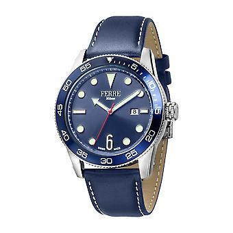 Ferre Milano Gents D. Blaues Zifferblatt D. Blau Lederarmband Uhr