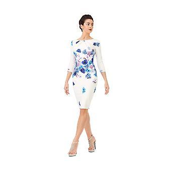 Floral print cocktail midi dress