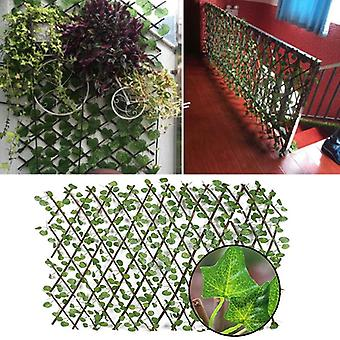 Garden Fence Decoration Privacy Wood With Artificial Green Leaf For Courtyard