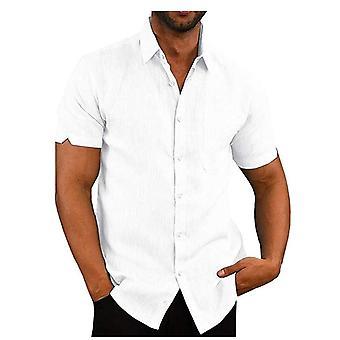 Men & apos;s قصير الأكمام طوق عارضة الكتان قميص الكتان