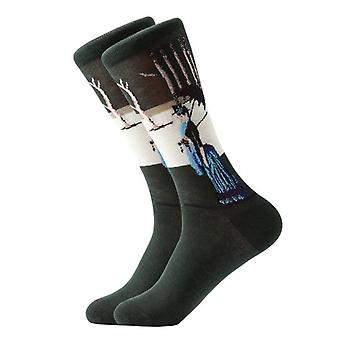 1paar gekämmte Baumwolle bunte Ölgemälde Männer Cool Casual Socken