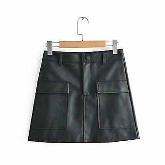 Mini saias de cintura alta de couro pu