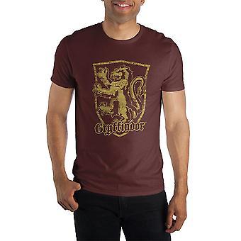 Harry potter gryffindor logo men's burgundy t-shirt