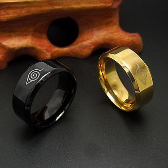 8mm Pincelado Naruto Sinal Dedo anel de aço inoxidável Mulheres