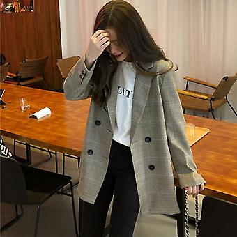 Office Ladies Collar Plaid Women Blazer Double Breasted Autumn Jacket Suits