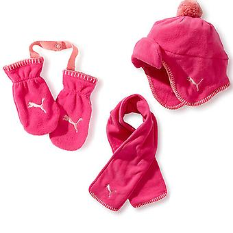 Puma MiniCat Fleece Gift Set Gloves Scarf Hat Winter Infants Pink 843284 01 A18A