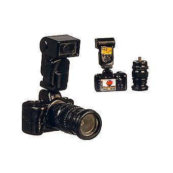 Bonecas House Câmera de lente longa com flash miniatura 1:12 Acessório