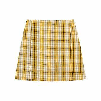 Women Split Details Plaid Mini Skirt With Under Shorts Mini Skort