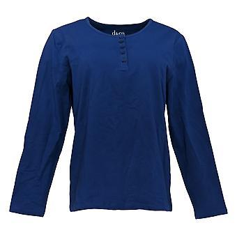 Denim & Co. Women's Top Long Sleeve Stretch Henley Blue A3127