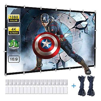 120 Inch projector screen, powerextra 16:9 hd 4k foldable anti-crease portable projector screen for