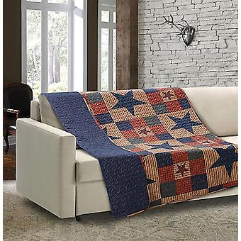Spura Home Mountain Cabin Blue Quilted Throw Blanket sofa Bed