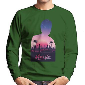 Miami Vice Sunset City Silhouette Men's Sweatshirt