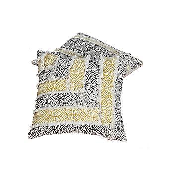 18 X 18 Oreillers tissés à la main en coton avec des détails de travail patch, ensemble de 2, multicolore