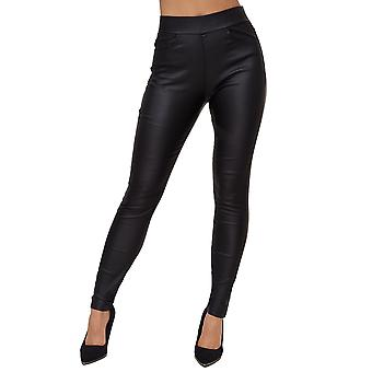 Womens Leather Optic Jeans Treggings Coated Denim Jeggings Stretch Leather Pants
