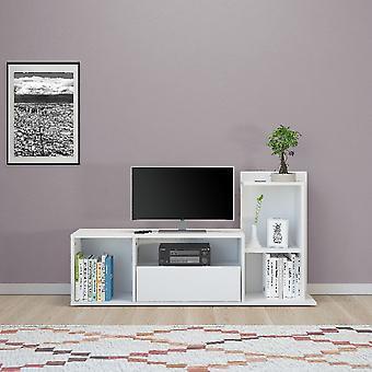 Mobile Sumatra TV Port White Color in Melamin Chipboard, L120xP30xA65 cm
