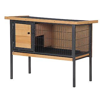 PawHut Wooden Rabbit Guinea Pig Hutch Bunny Cage Metal Frame Elevated Pet House with Slide-Out Tray Lockable Door Openable Roof Natural Wood 91.5 x 45 x 70cm