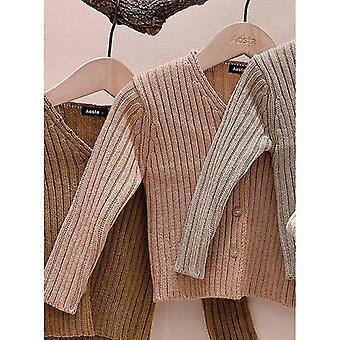 Baby Sweater Single Breast Knitwear V Neck Long Sleeve Sweater