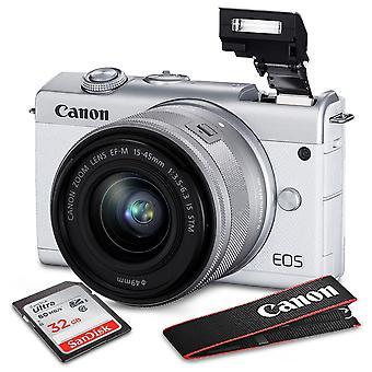 Canon eos m200 mirrorless digital camera with 15-45mm lens (white) + case, strap, 32gb memory card, xpix tripod, xpix card reader, lens