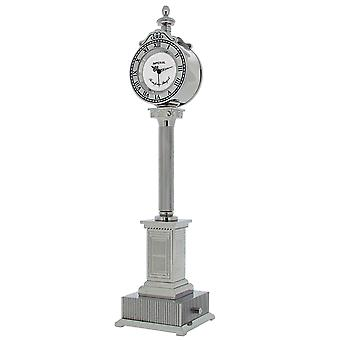GTP Unisex Lampost With 2 Clocks Chrome Plated on Solid Brass Novelty Desktop Collectors Miniature Clock IMP441