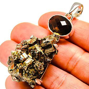 """Huge Bismuth Crystal, Rokerige Quartz Hanger 2 1/2"""" (925 Sterling Zilver) - Handgemaakte Boho Vintage Sieraden PD755432"""