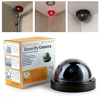 Simulated surveillance camera fake home dome dummy with flash red led light security indoor outdoor