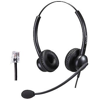 Telefon Headset mit Mikrofon Noise Cancelling, Stereo Bro CallCenter Festnetztelefonen Kopfhrer mit