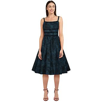 Chic Star Trims Retro Dress In Blue Floral