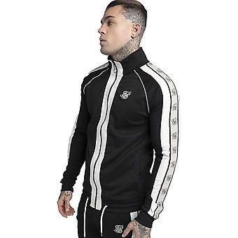 SikSilk Premium Tape Funnel Zip Through Track Top - Jet Black/Off White