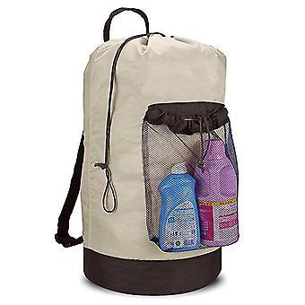 Laundry Bag Mesh Pocket Nylon Backpack Clothes Hamper Bag
